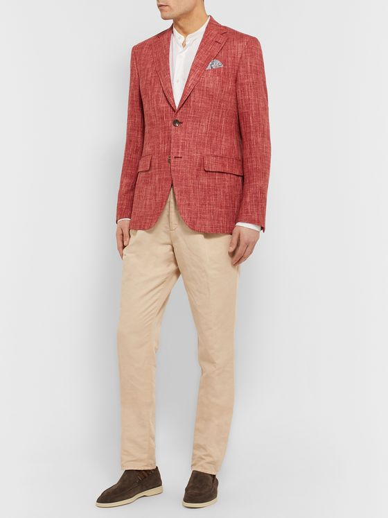 Etro Brick Slim-Fit Mélange Wool-Blend Blazer