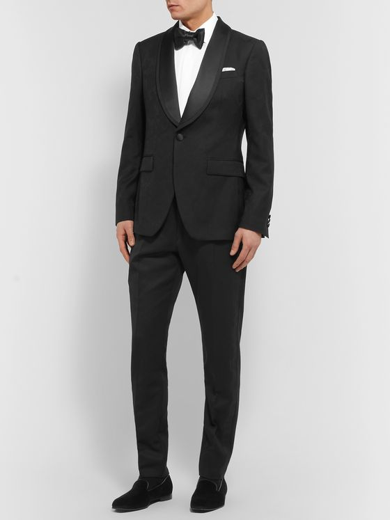 Etro Black Grosgrain-Trimmed Floral Wool-Jacquard Tuxedo Jacket