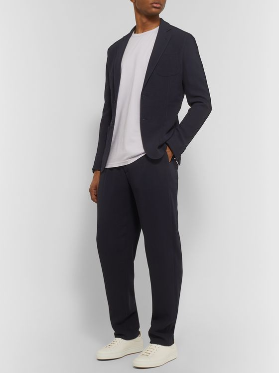Giorgio Armani Navy Slim-Fit Virgin Wool-Blend Seersucker Suit Jacket