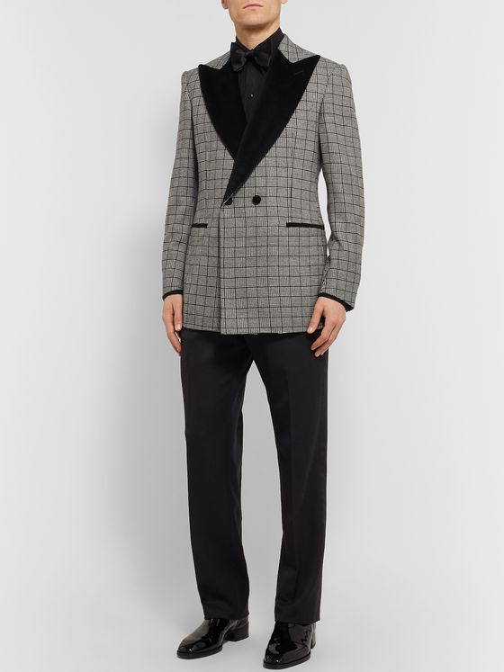Maximilian Mogg Black Double-Breasted Velvet-Trimmed Basketweave Wool Tuxedo Jacket