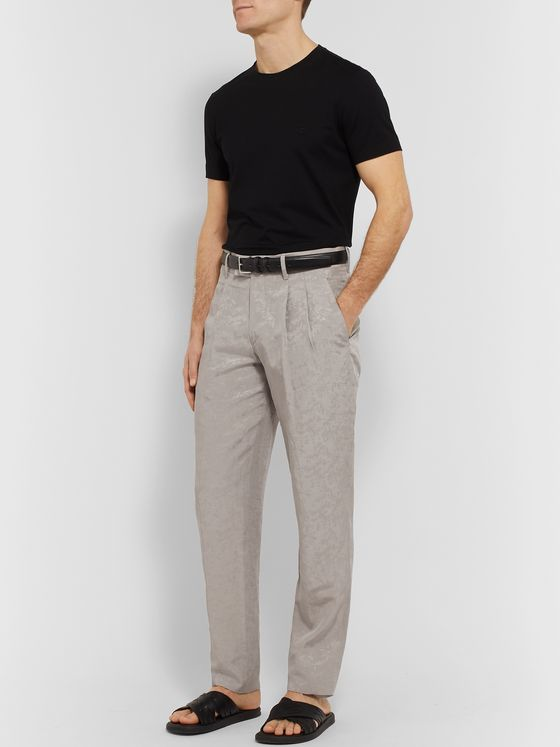 Giorgio Armani Tapered Pleated Jacquard Trousers