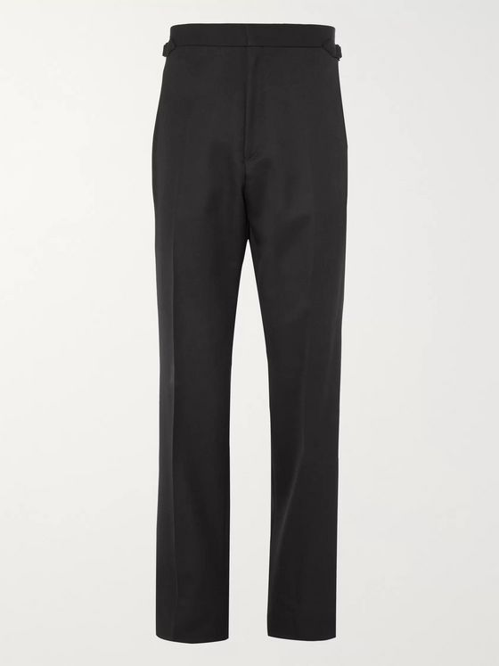 Maximilian Mogg Black Grosgrain-Trimmed Wool Tuxedo Trousers