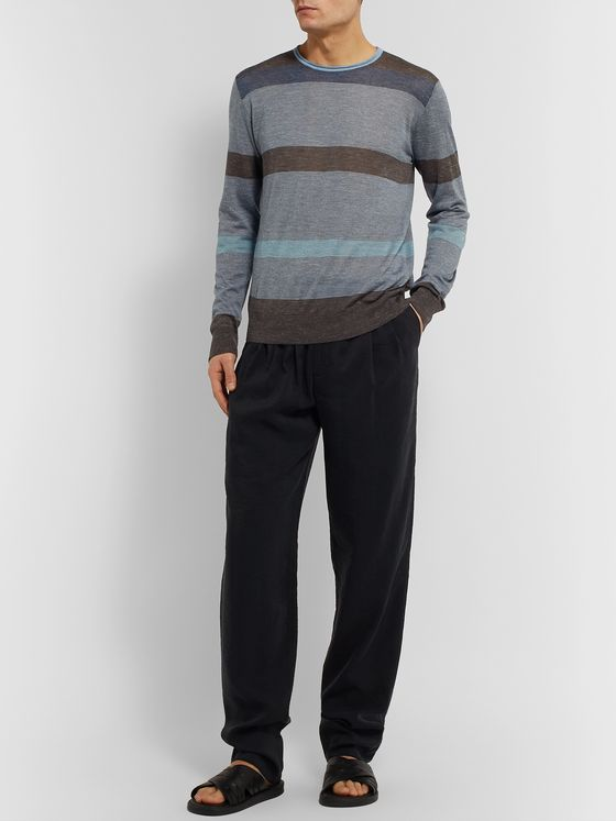 Giorgio Armani Slim-Fit Striped Silk, Cashmere and Linen-Blend Sweater