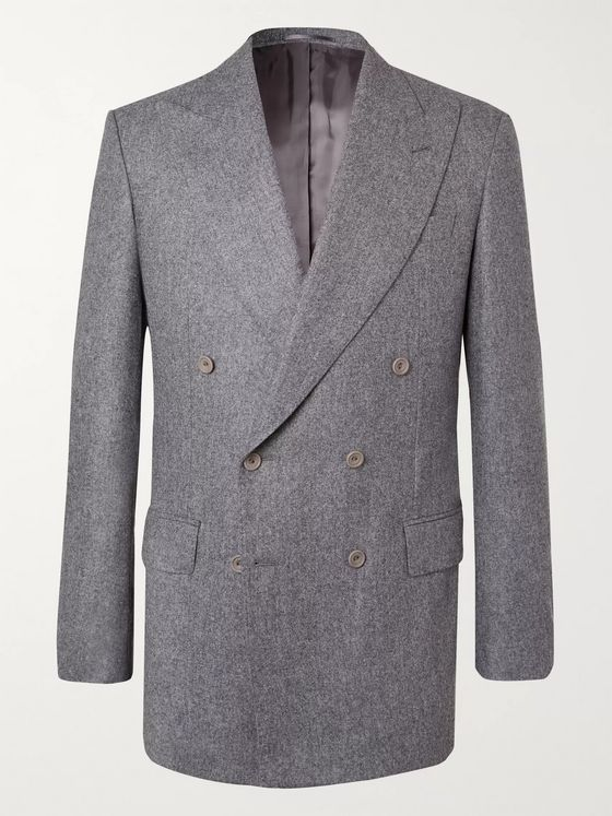 Maximilian Mogg Grey Double-Breasted Wool-Flannel Suit