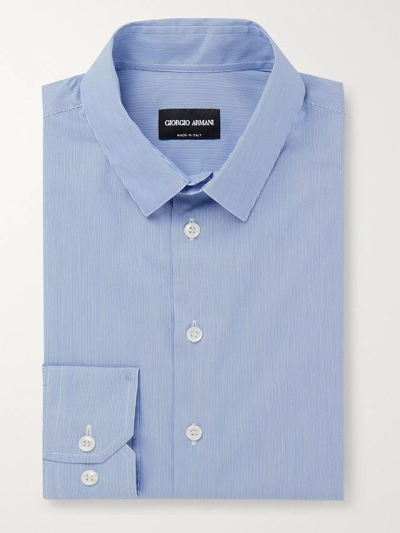 Giorgio Armani Slim-Fit Pinstriped Cotton-Blend Poplin Shirt