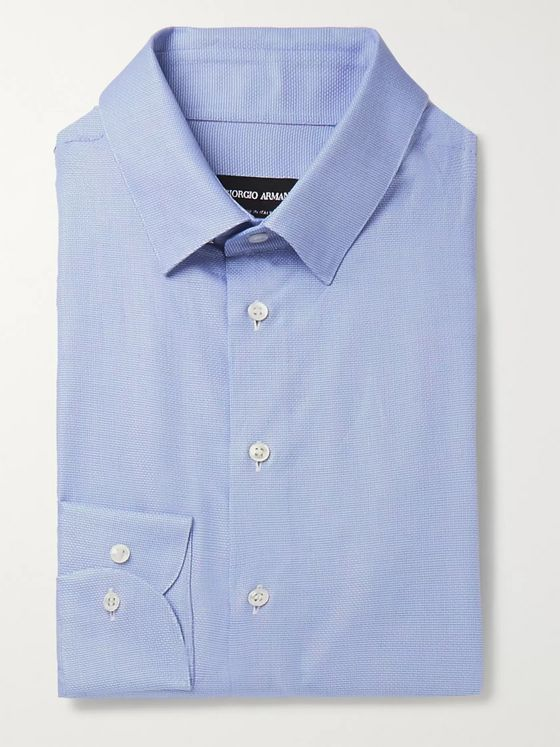 Giorgio Armani Blue Checked Cotton Shirt