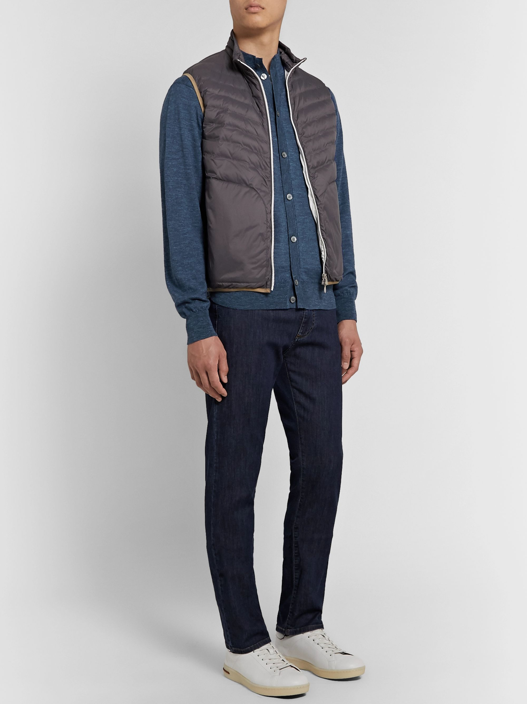 Peter Millar Giardini Mélange Wool, Silk and Linen-Blend Cardigan