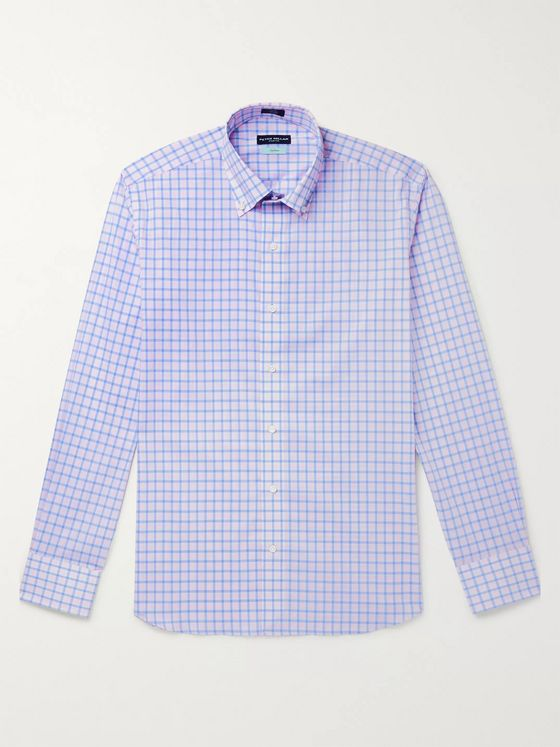 Peter Millar Capri Slim-Fit Button-Down Collar Checked Cotton Shirt