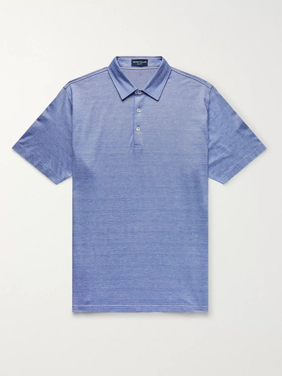 Peter Millar Knitted Mélange Stretch Cotton and Modal-Blend Polo Shirt