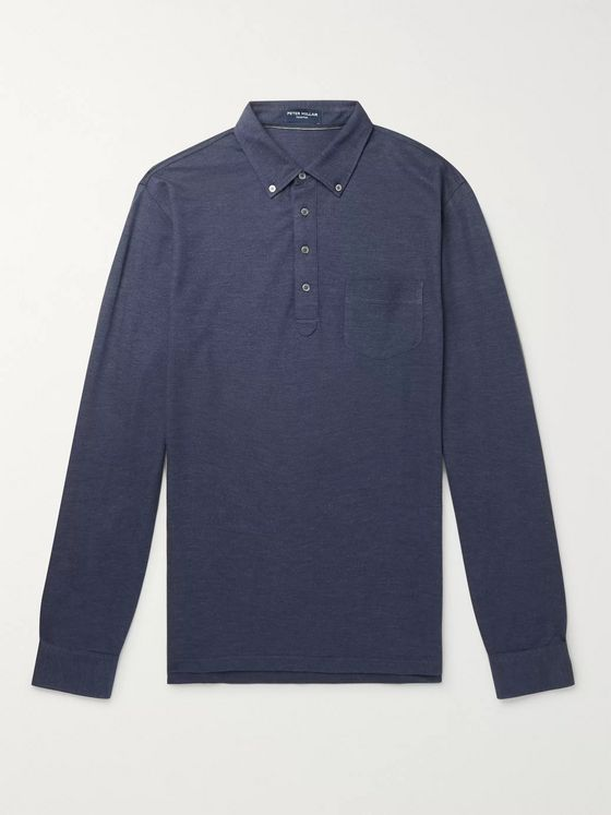 Peter Millar Button-Down Collar Mélange Silk and Cotton-Blend Polo Shirt
