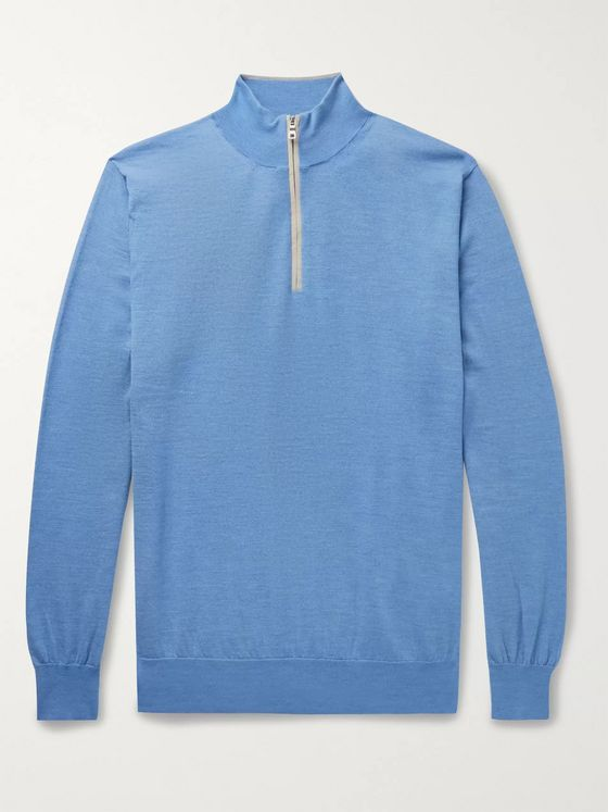 Peter Millar Suede-Trimmed Merino Wool-Blend Half-Zip Sweater