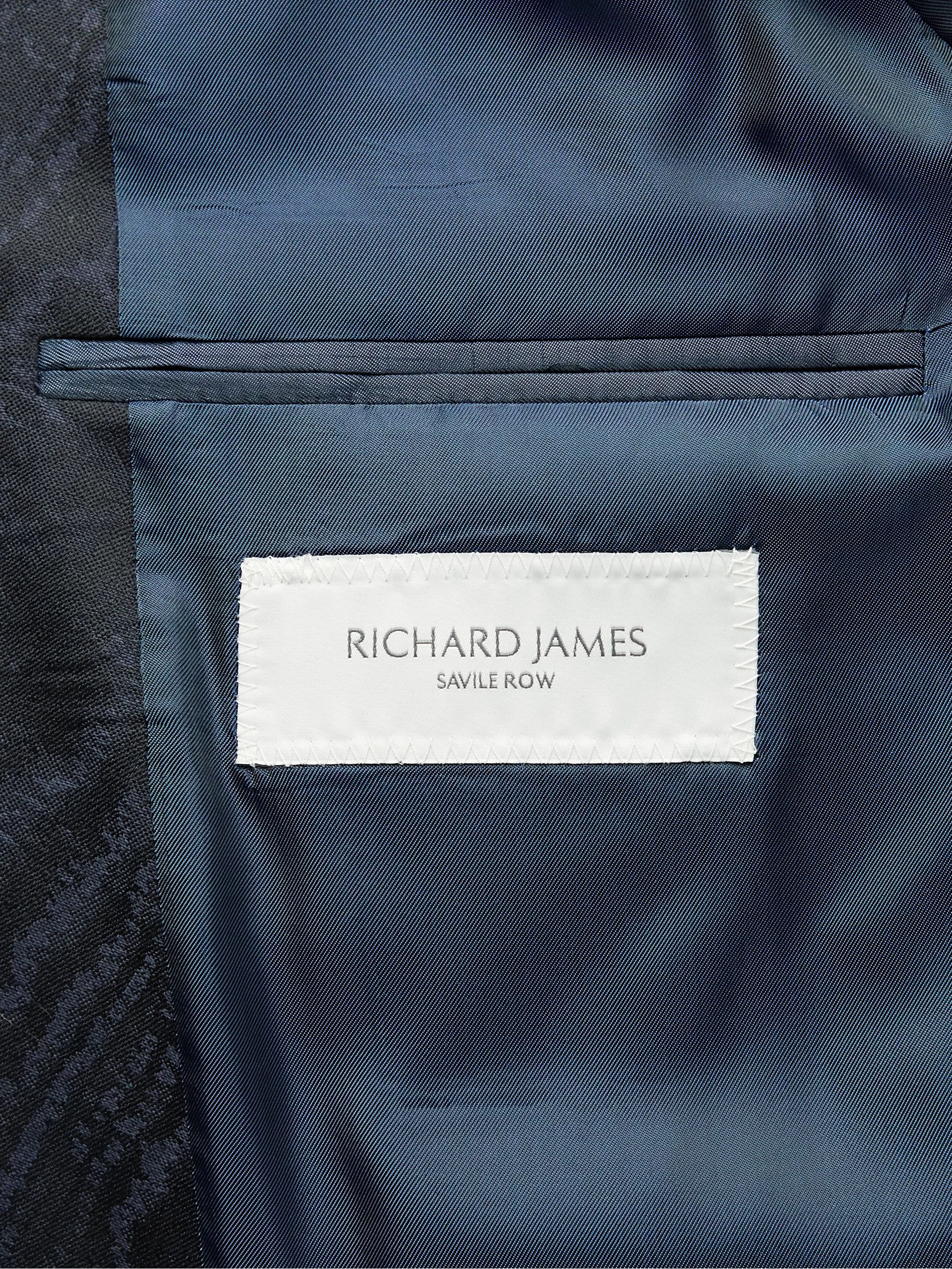 Richard James Navy Slim-Fit Satin-Trimmed Wool-Moiré Tuxedo Jacket