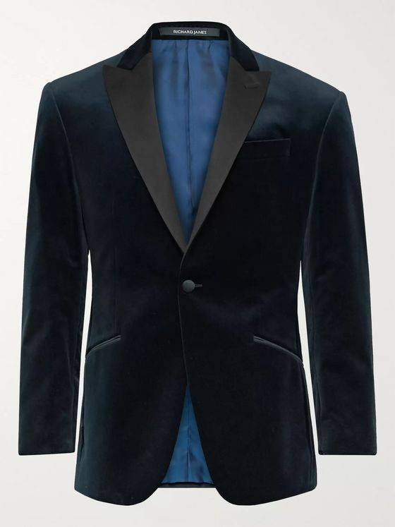 Richard James Navy Slim-Fit Satin-Trimmed Cotton-Velvet Tuxedo Jacket