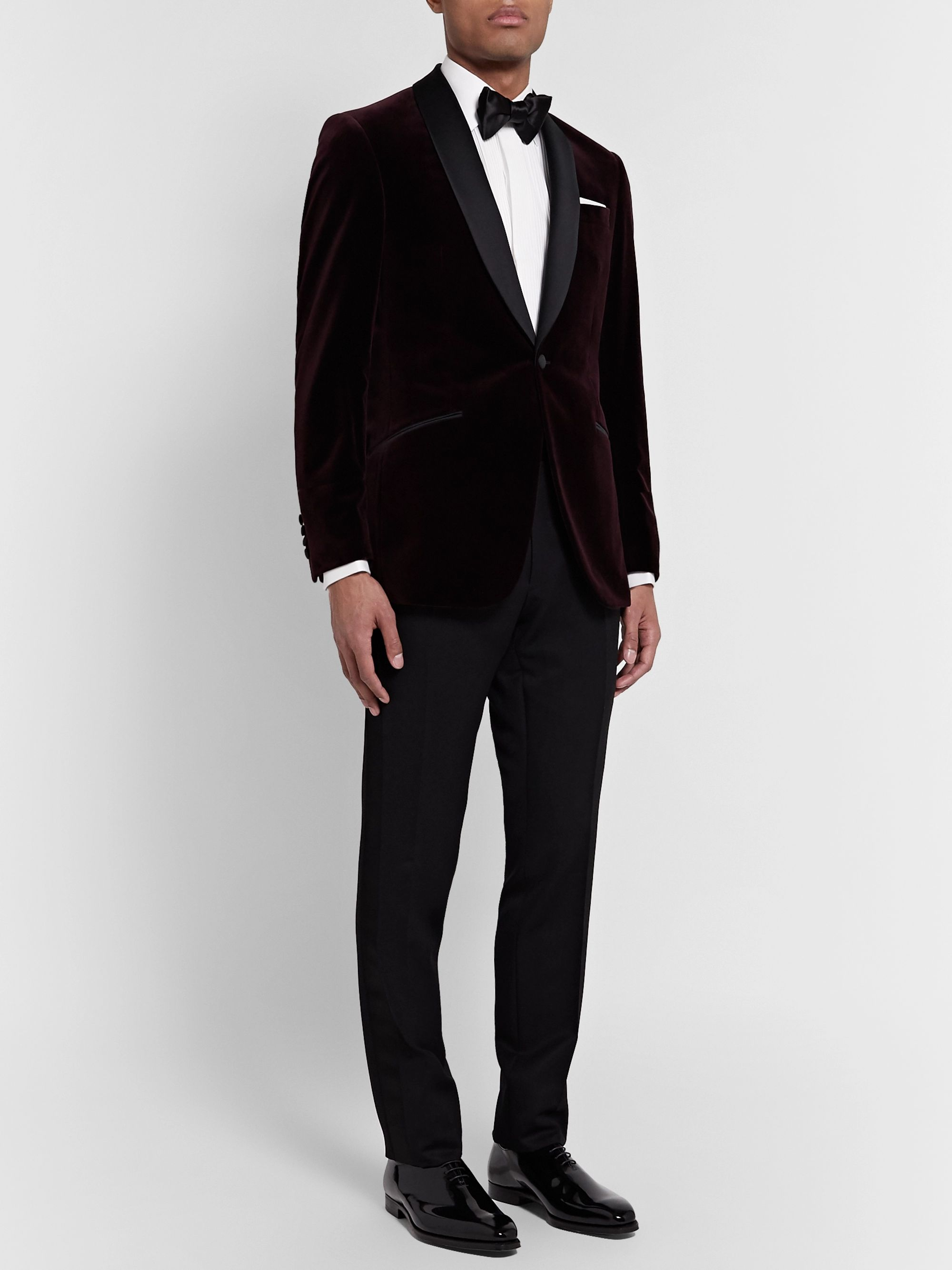 Richard James Burgundy Slim-Fit Shawl-Collar Satin-Trimmed Cotton-Velvet Tuxedo Jacket