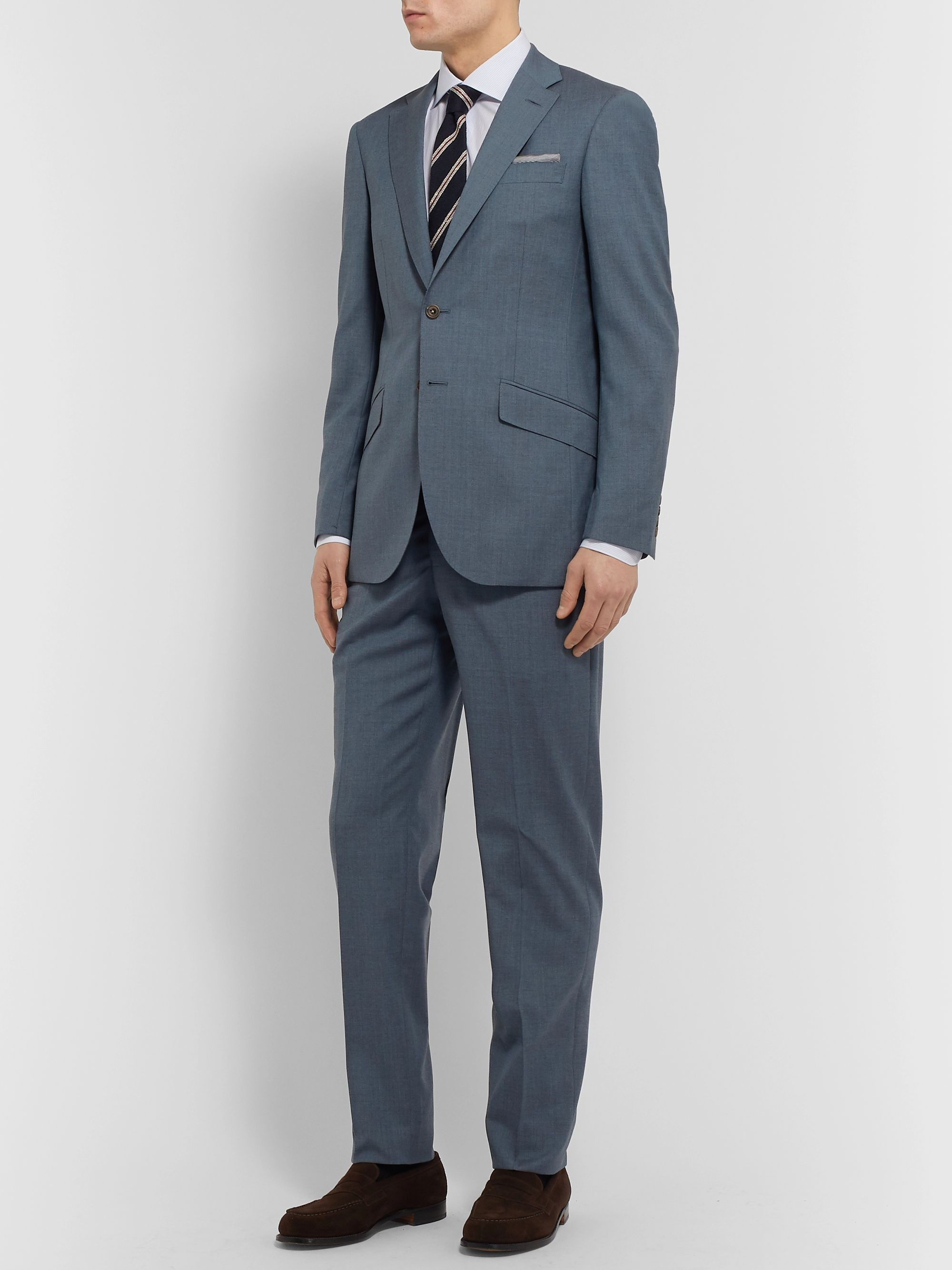 Richard James Light-Blue Slim-Fit Wool-Flannel Suit Jacket