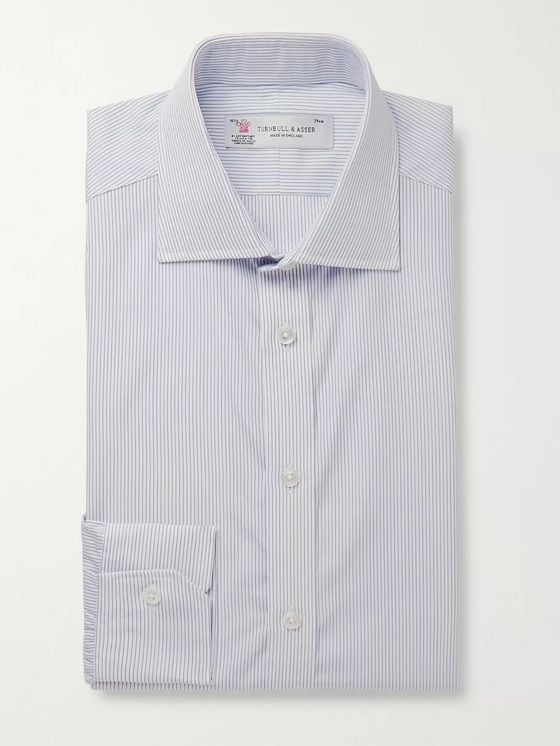 Turnbull & Asser Navy Cutaway-Collar Striped Cotton Shirt