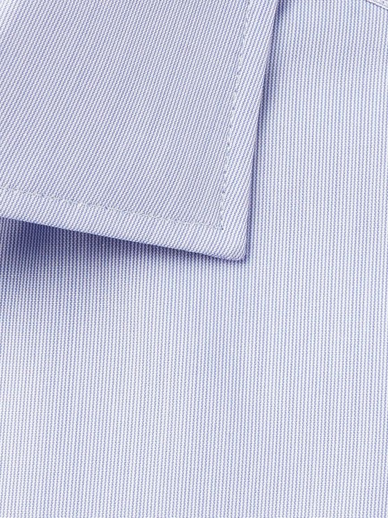 Turnbull & Asser Blue Cutaway-Collar Striped Cotton Shirt