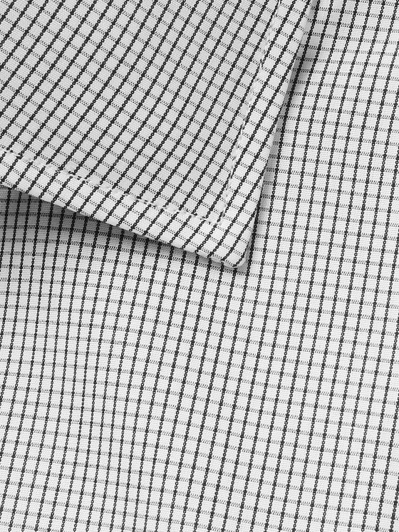 Turnbull & Asser White Checked Cotton-Poplin Shirt