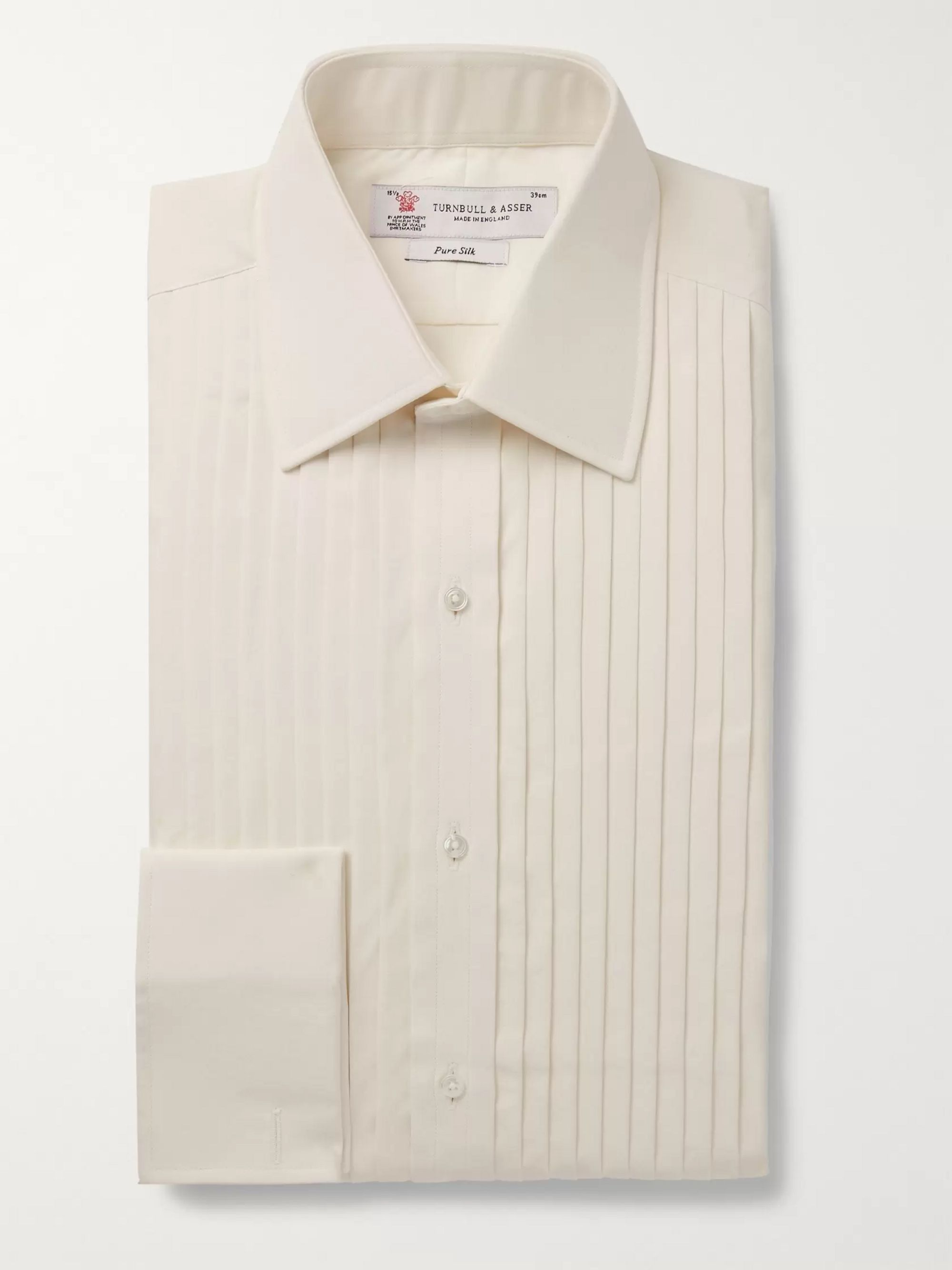 Turnbull & Asser Navy Bib-Front Double-Cuff Silk Shirt