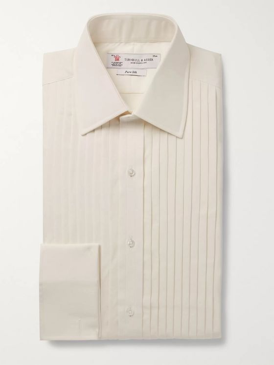 Turnbull & Asser Cream Bib-Front Double-Cuff Silk Shirt