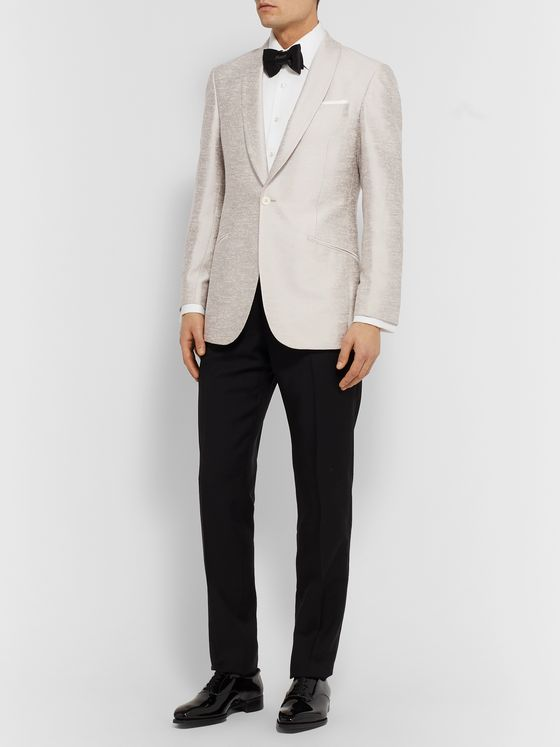 Richard James Ivory Slim-Fit Shawl-Collar Silk-Shantung Tuxedo Jacket