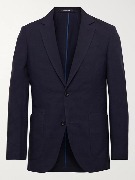 Richard James Spirit Slim-Fit Textured-Wool and Cotton-Blend Suit Jacket