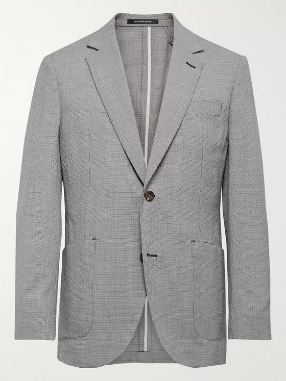 Richard James Spirit Slim-Fit Textured Puppytooth Wool and Cotton-Blend Suit Jacket