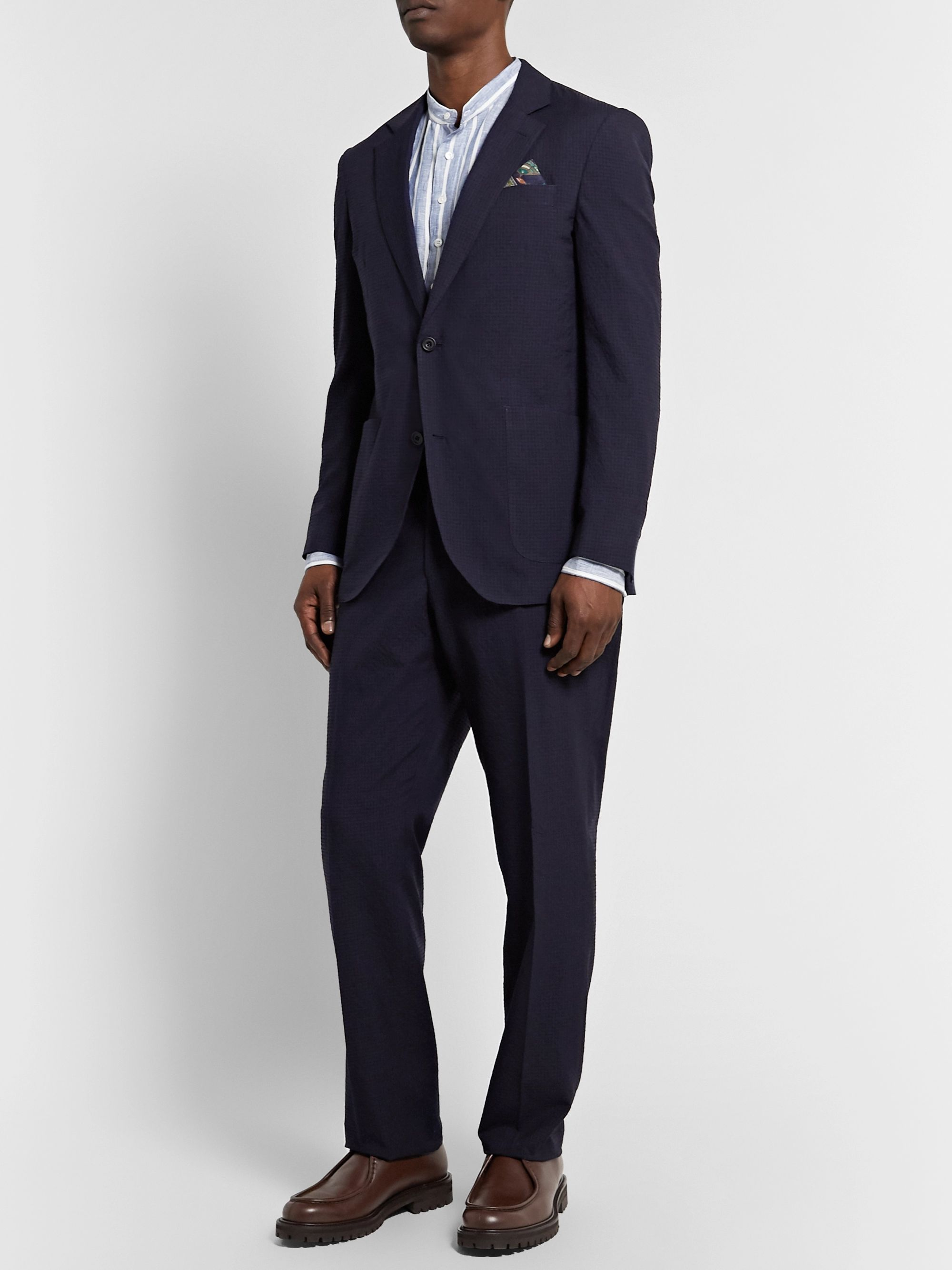 Richard James Spirit Slim-Fit Textured Wool and Cotton-Blend Suit Trousers