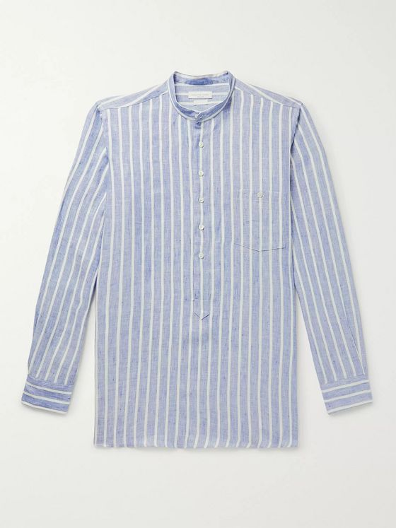 Richard James Grandad-Collar Striped Linen Half-Placket Shirt