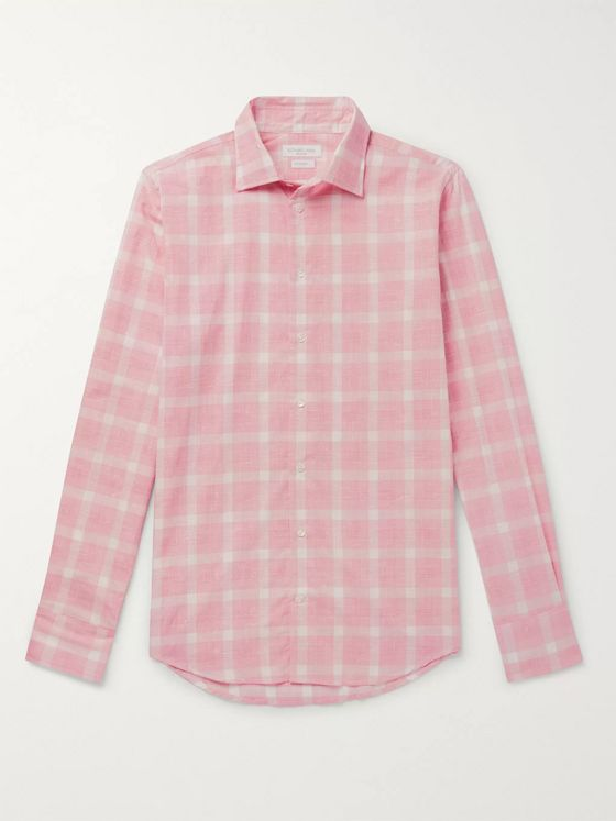 Richard James Slim-Fit Prince of Wales Checked Slub Cotton Shirt