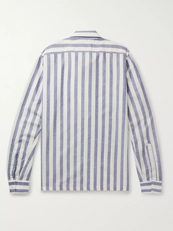 Richard James Camp-Collar Striped Tencel, Cotton and Linen-Blend Shirt