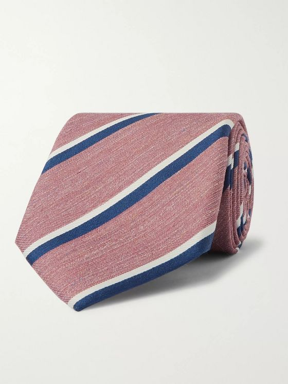 Bigi 8cm Striped Linen and Silk-Blend Tie