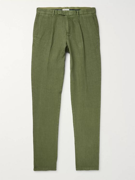 Boglioli Tapered Garment-Dyed Linen Chinos