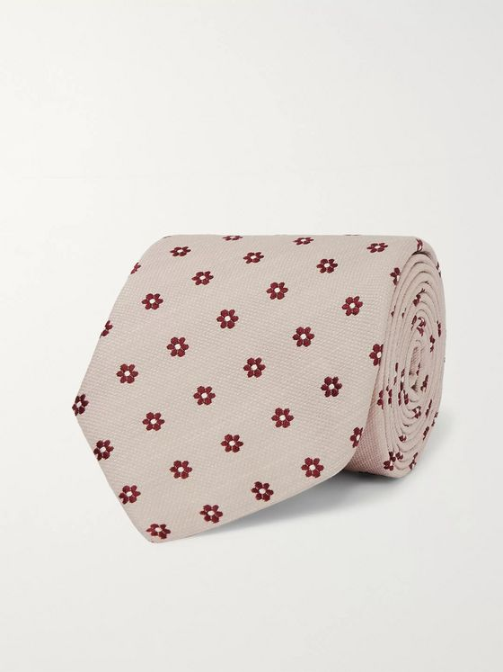 Bigi 8cm Embroidered Silk and Linen-Blend Tie