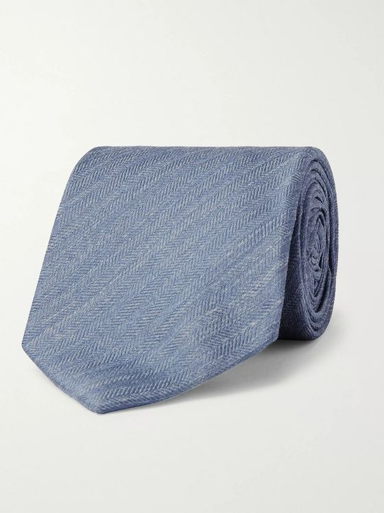 Bigi 8cm Herringbone Silk and Linen-Blend Tie