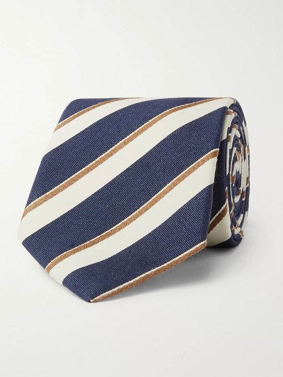 Bigi 8cm Striped Silk and Cotton-Blend Tie