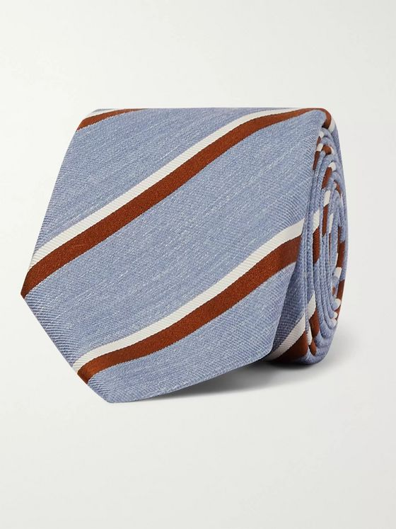 Bigi 8cm Striped Silk and Linen-Blend Tie