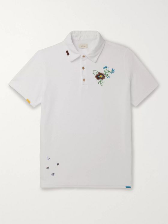 Altea Embroidered Cotton-Blend Terry Polo Shirt