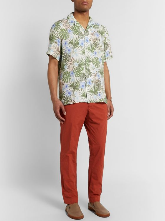 Altea Camp-Collar Printed Linen Shirt