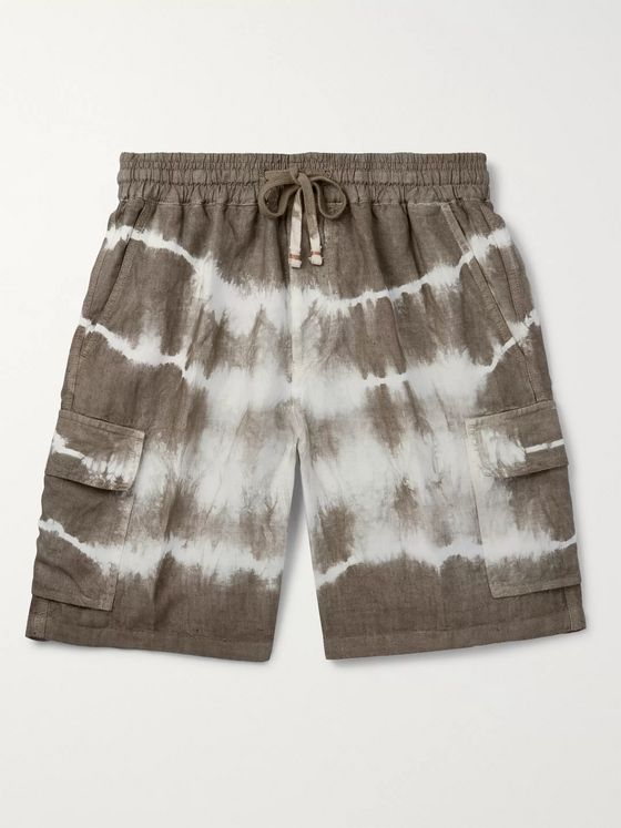 Altea Tie-Dyed Linen Drawstring Shorts