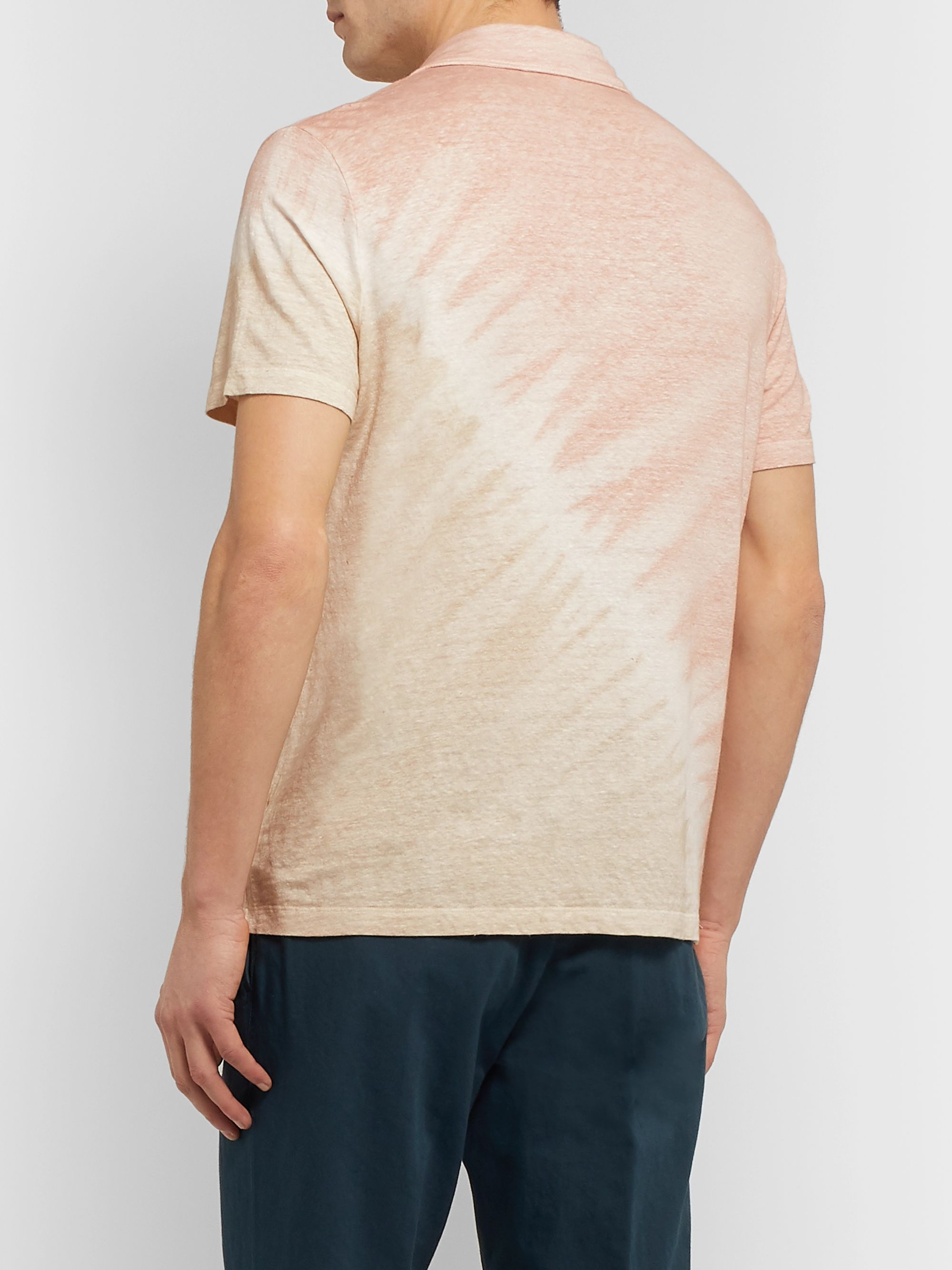 Altea Tie-Dyed Stretch-Linen Polo Shirt