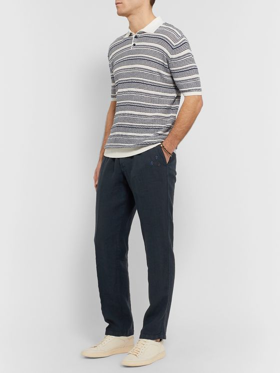 Altea Navy Tapered Embroidered Linen Trousers