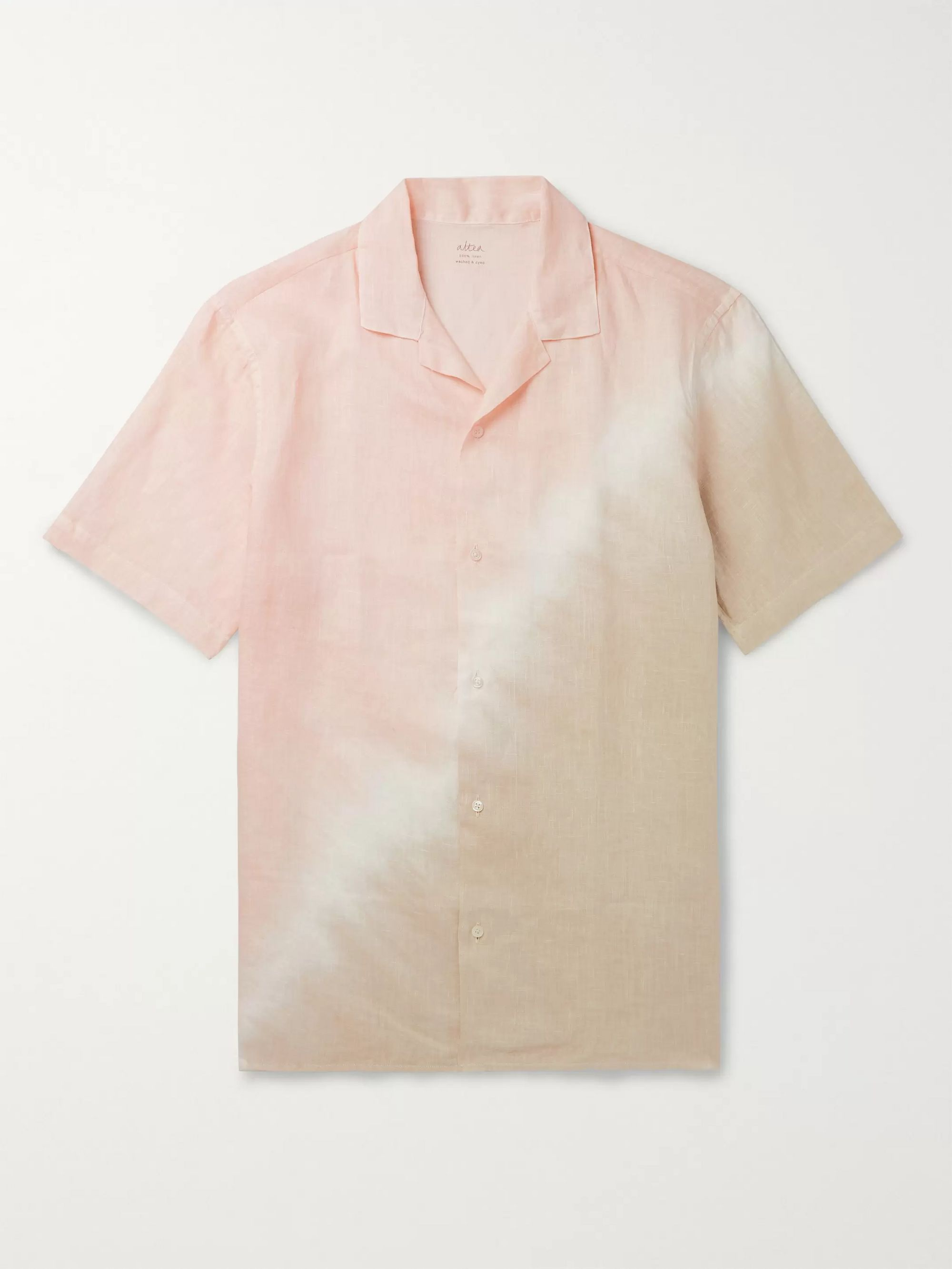 Altea Camp-Collar Tie-Dyed Linen Shirt