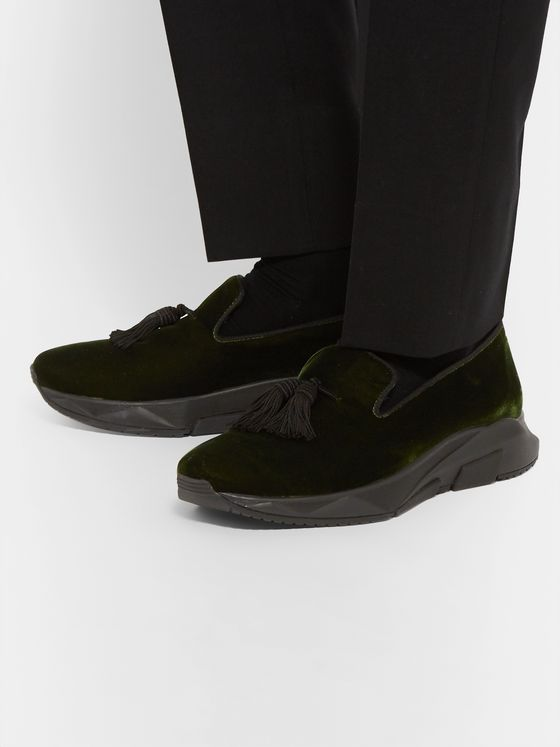 TOM FORD Tuner Tasselled Velvet Sneakers