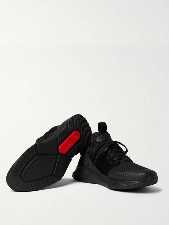 TOM FORD Vellus Suede and Rubber-Trimmed Neoprene and Mesh Sneakers