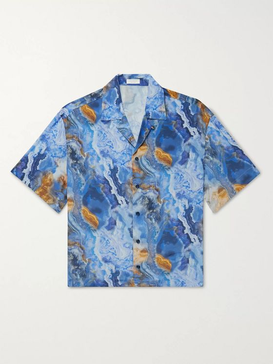 Deveaux Resort Camp-Collar Printed Silk Shirt