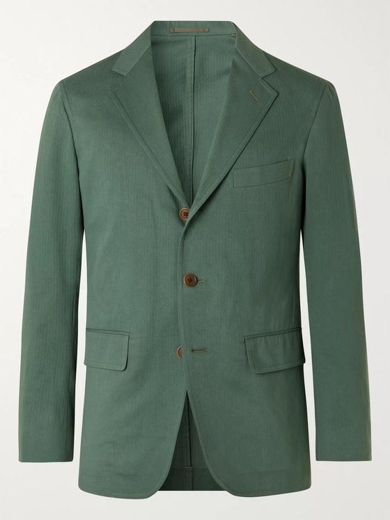 Camoshita Herringbone Cotton Suit Jacket