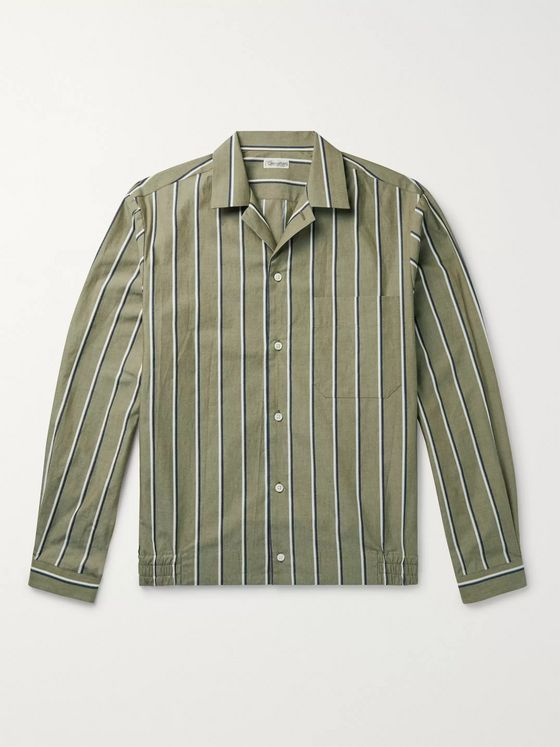 Camoshita Camp-Collar Striped Cotton Oxford Shirt