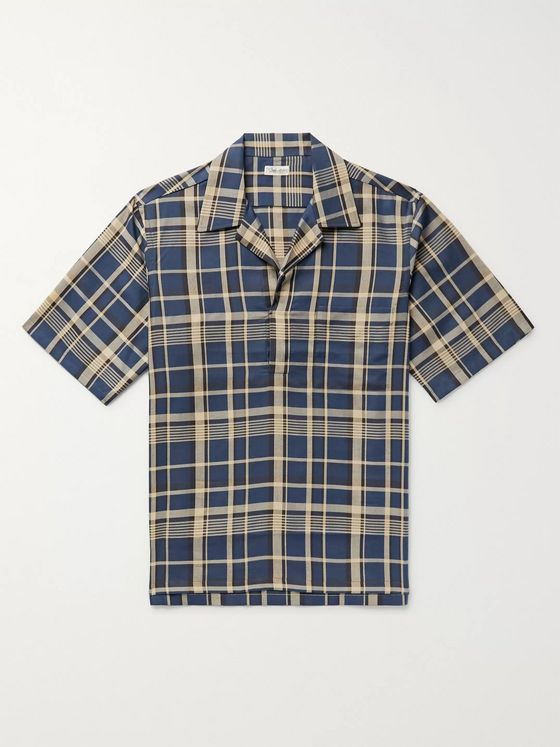 Camoshita Skipper Camp-Collar Linen Pullover Shirt