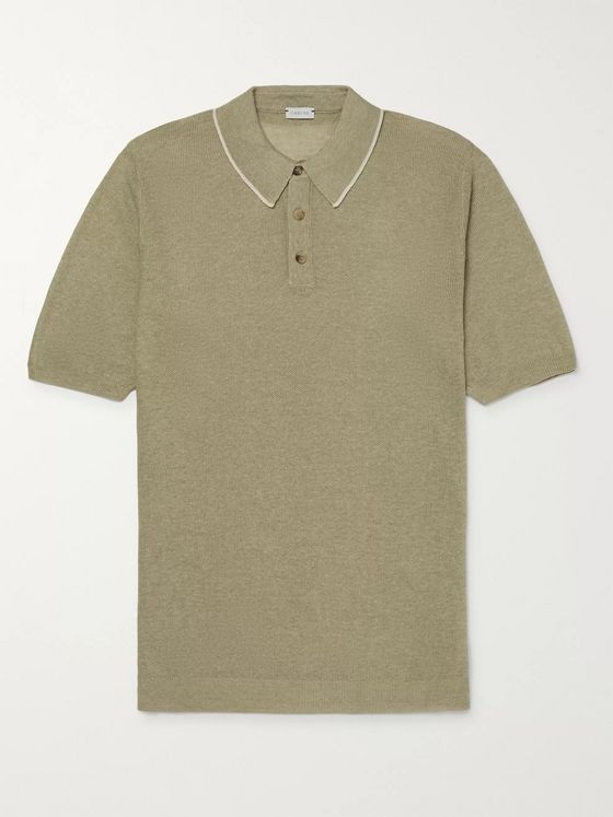 Caruso Contrast-Tipped Knitted Silk and Linen-Blend Polo Shirt